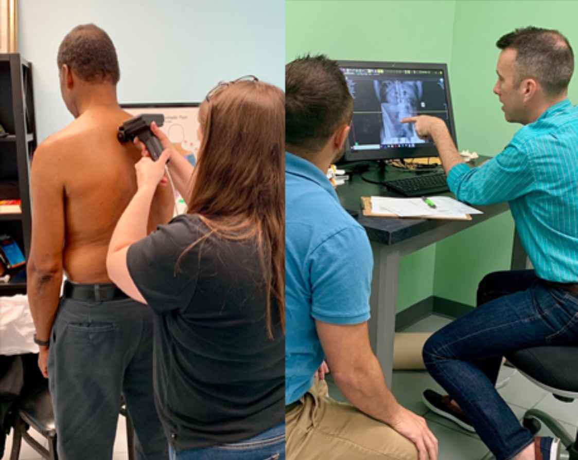 Working on Mans Back and Viewing Spinal XRays